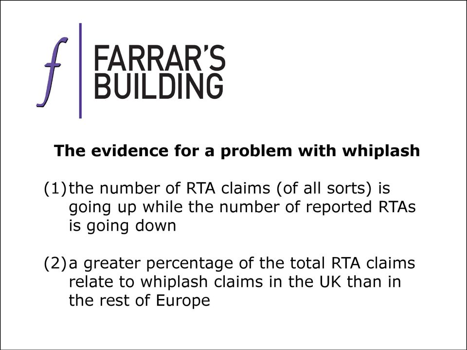 RTAs is going down (2)a greater percentage of the total RTA