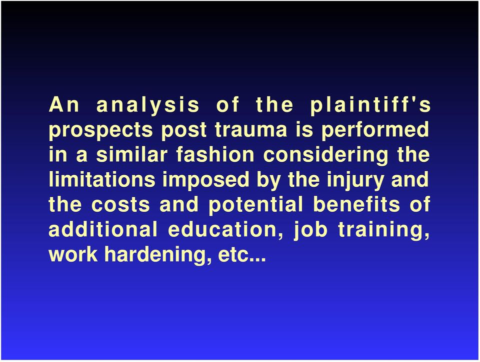 imposed by the injury and the costs and potential benefits