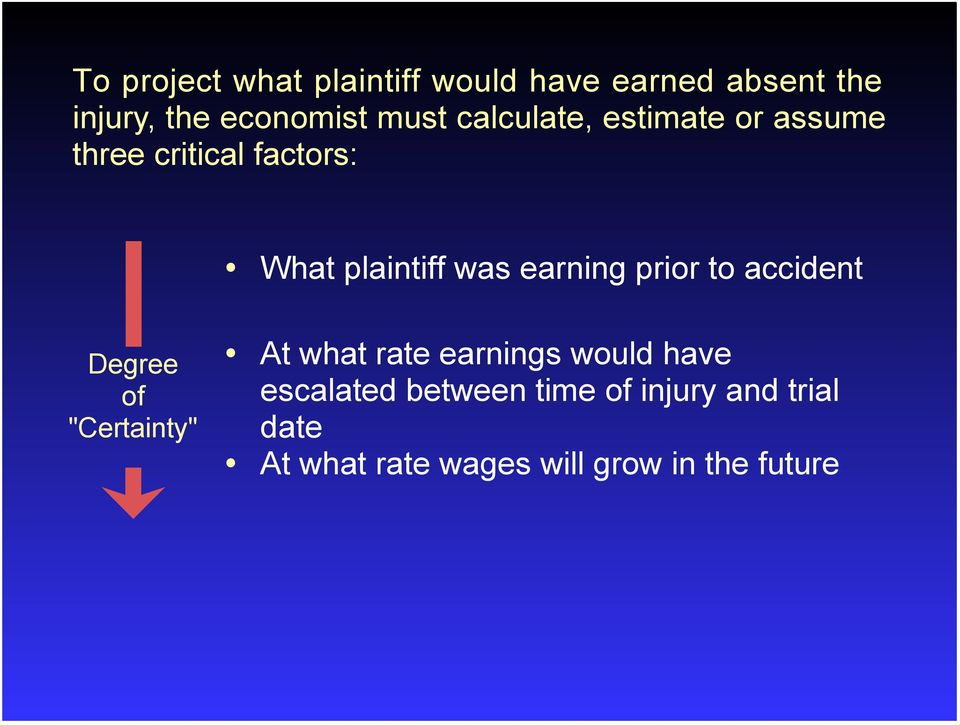 "prior to accident Degree of ""Certainty"" At what rate earnings would have"