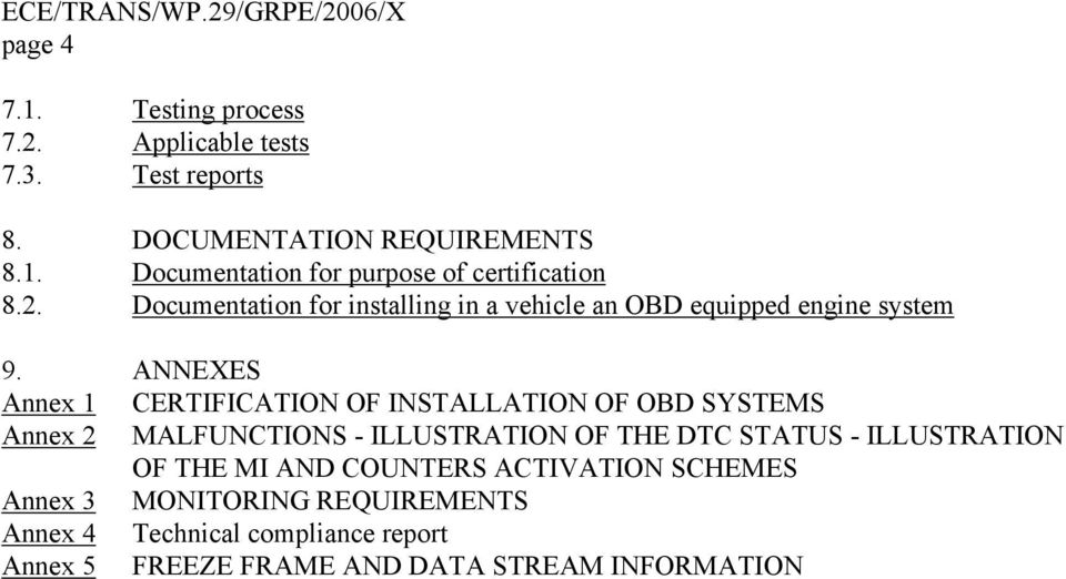 ANNEXES Annex 1 CERTIFICATION OF INSTALLATION OF OBD SYSTEMS Annex 2 MALFUNCTIONS - ILLUSTRATION OF THE DTC STATUS -