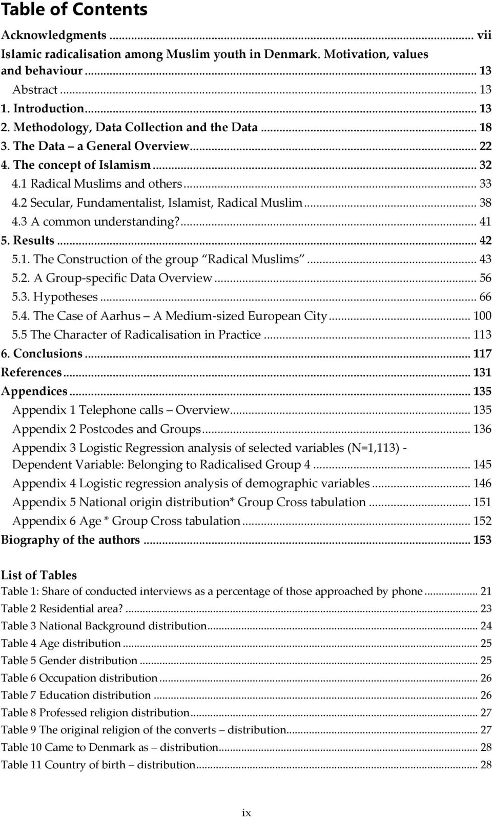 2 Secular, Fundamentalist, Islamist, Radical Muslim... 38 4.3 A common understanding?... 41 5. Results... 42 5.1. The Construction of the group Radical Muslims... 43 5.2. A Group-specific Data Overview.