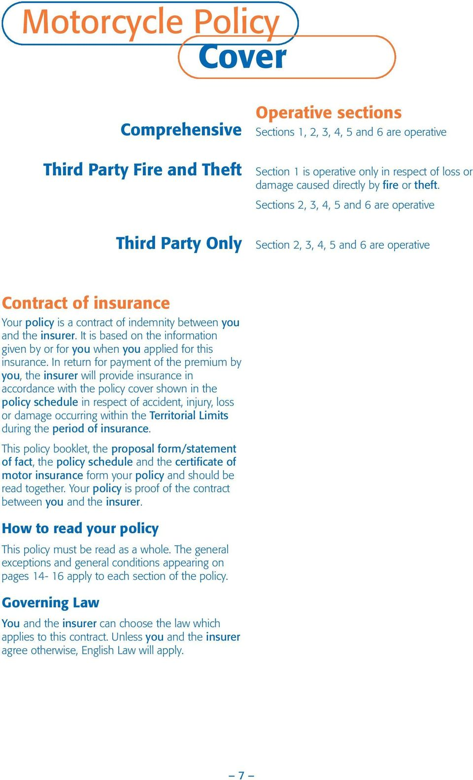 Sections 2, 3, 4, 5 and 6 are operative Third Party Only Section 2, 3, 4, 5 and 6 are operative Contract of insurance Your policy is a contract of indemnity between you and the insurer.
