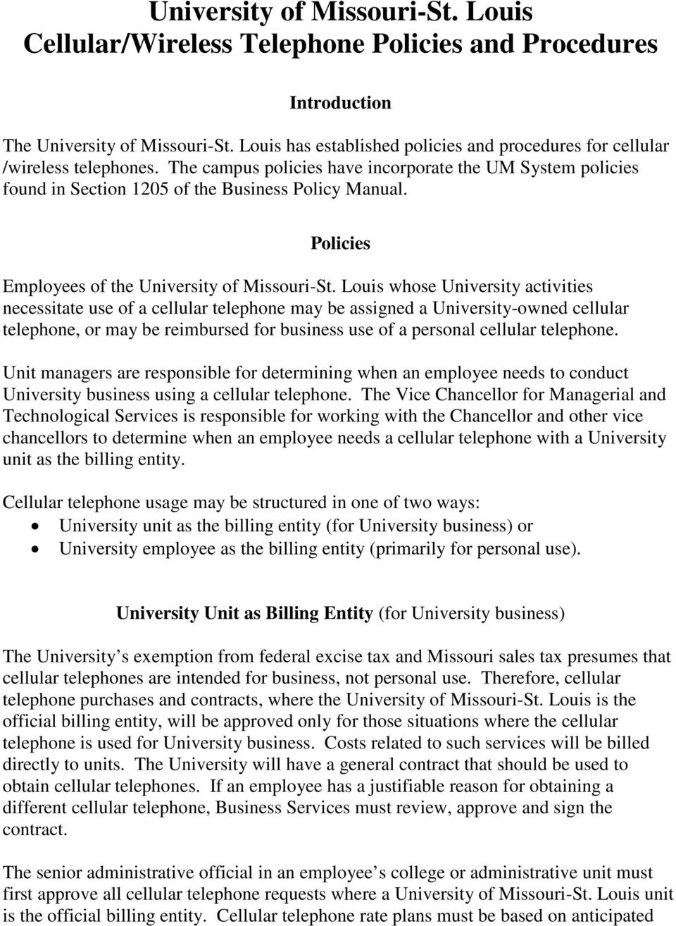Policies Employees of the University of Missouri-St.