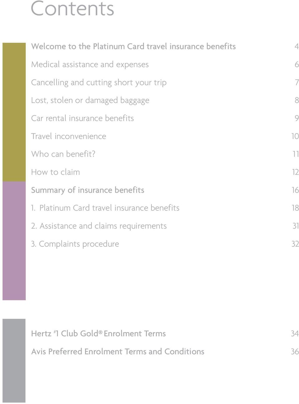 11 How to claim 12 Summary of insurance benefits 16 1. Platinum Card travel insurance benefits 18 2.