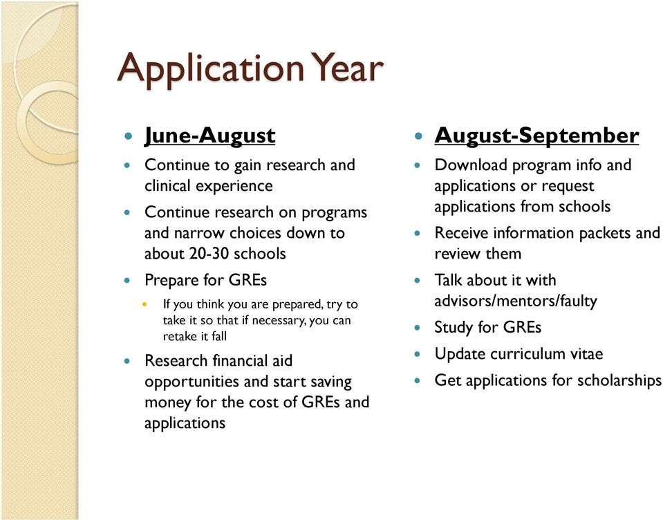 and start saving money for the cost of GREs and applications August-September Download program info and applications or request applications from schools
