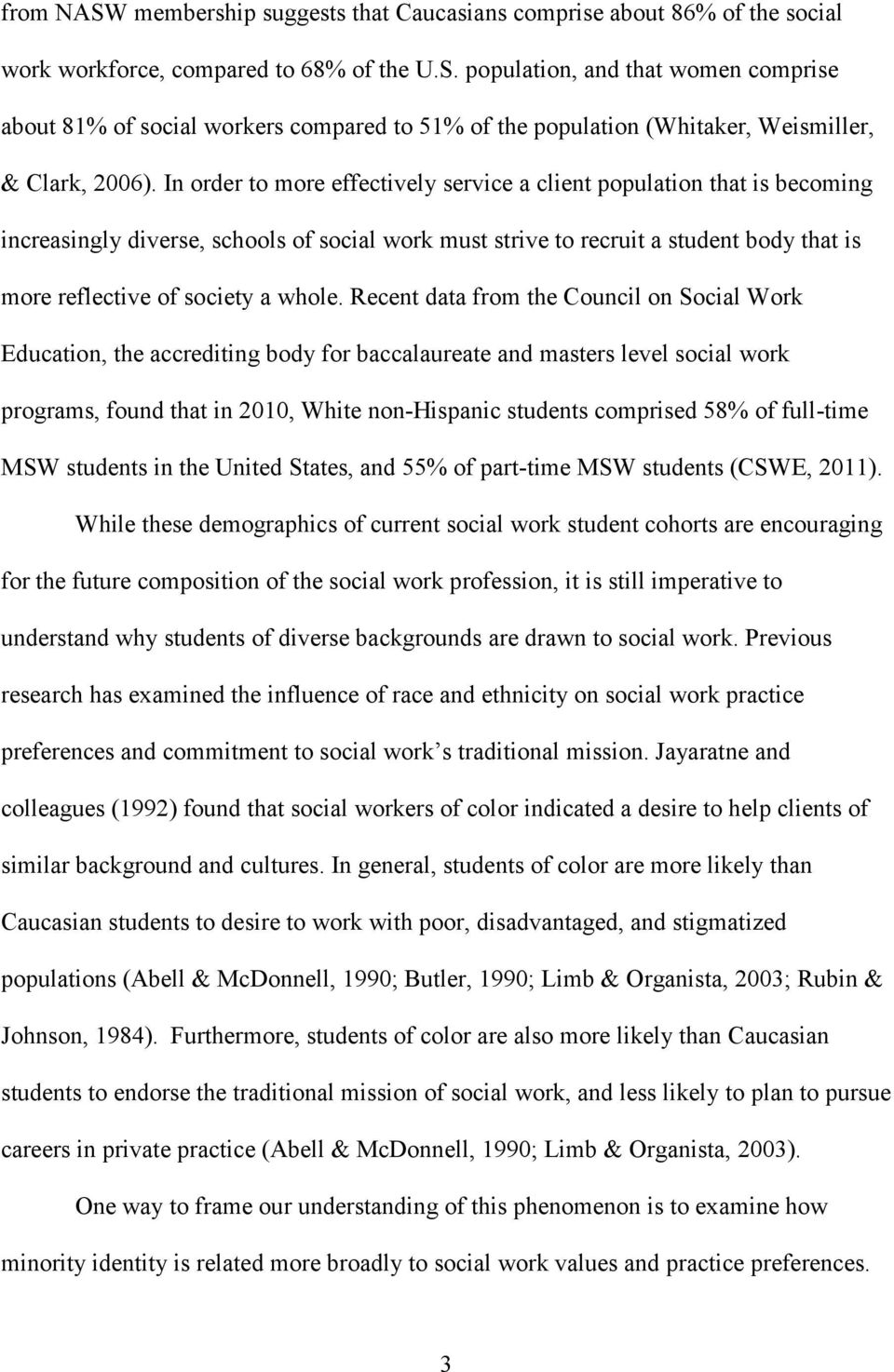 Recent data from the Council on Social Work Education, the accrediting body for baccalaureate and masters level social work programs, found that in 2010, White non-hispanic students comprised 58% of