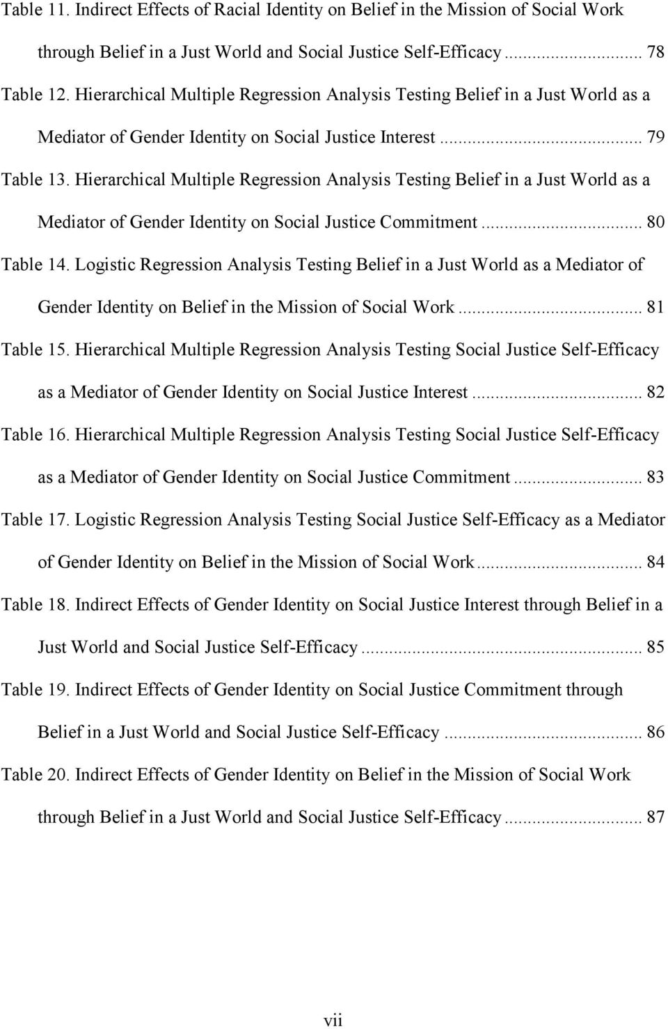 Hierarchical Multiple Regression Analysis Testing Belief in a Just World as a Mediator of Gender Identity on Social Justice Commitment... 80 Table 14.