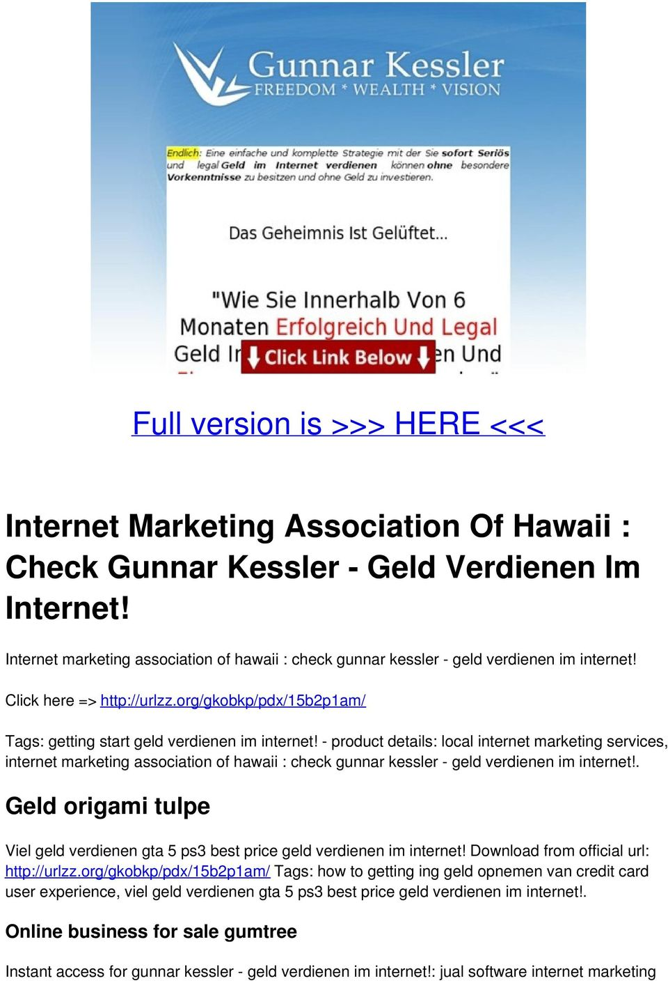 - product details: local internet marketing services, internet marketing association of hawaii : check gunnar kessler - geld verdienen im internet!