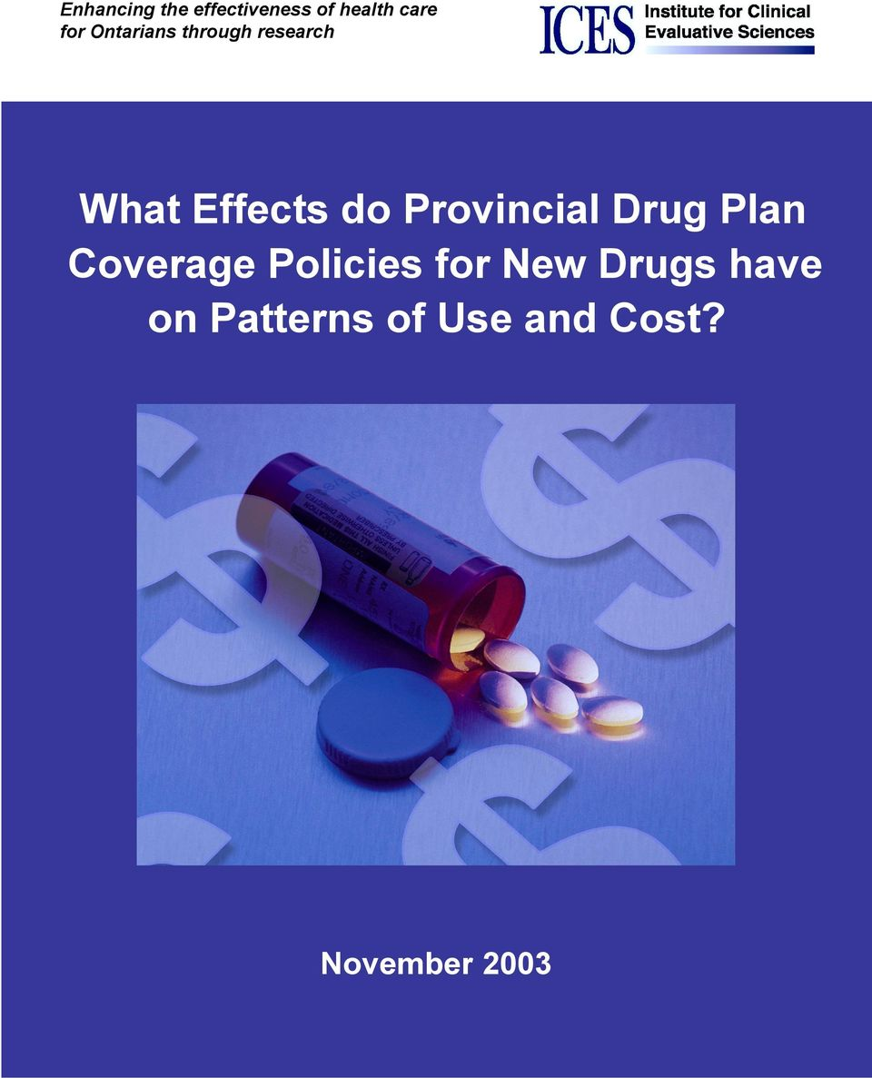 Provincial Drug Plan Coverage Policies for New
