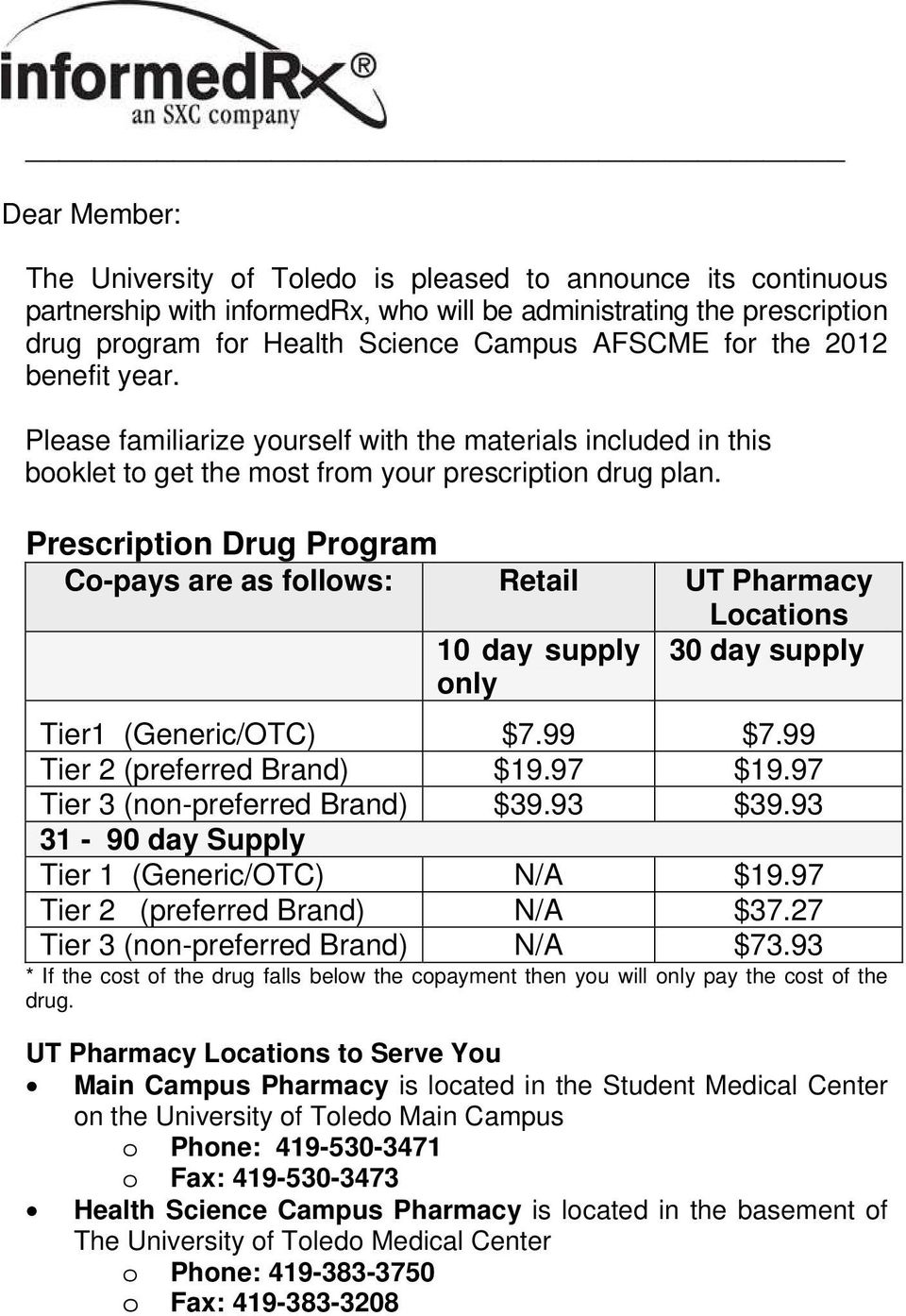 Prescription Drug Program Co-pays are as follows: Retail UT Pharmacy Locations 10 day supply 30 day supply only Tier1 (Generic/OTC) $7.99 $7.99 Tier 2 (preferred Brand) $19.97 $19.