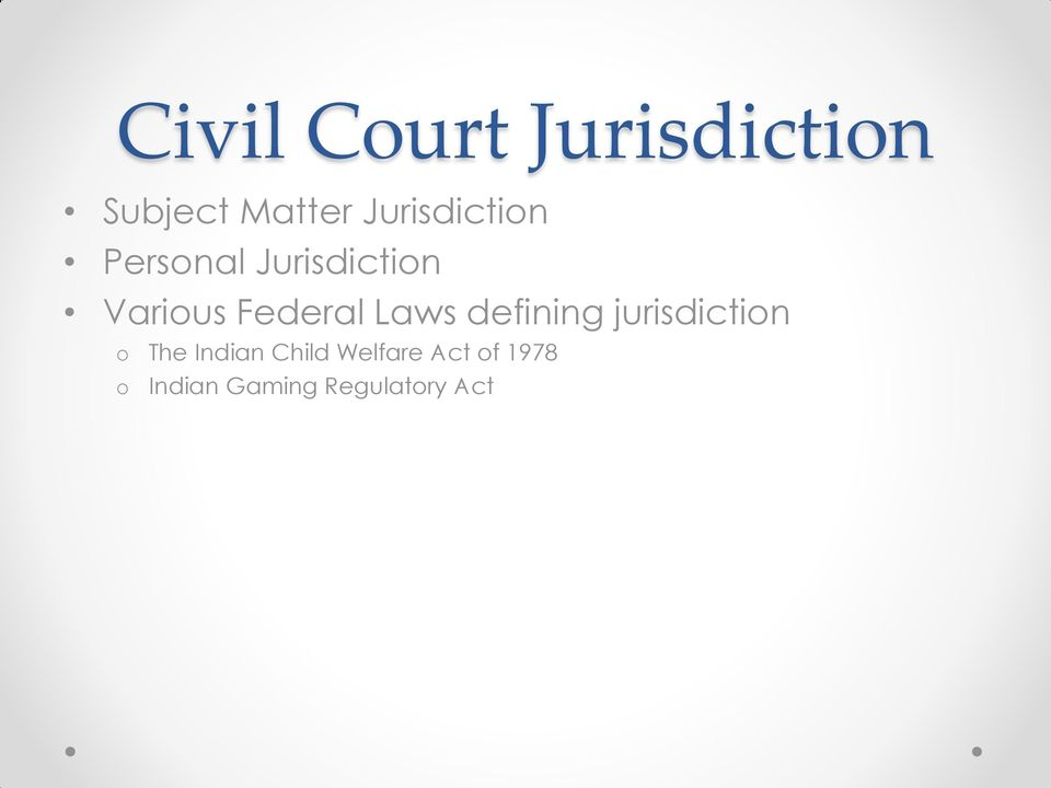 Federal Laws defining jurisdictin The