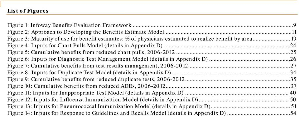..24 Figure 5: Cumulative benefits from reduced chart pulls, 2006-2012... 25 Figure 6: Inputs for Diagnostic Test Management Model (details in Appendix D).