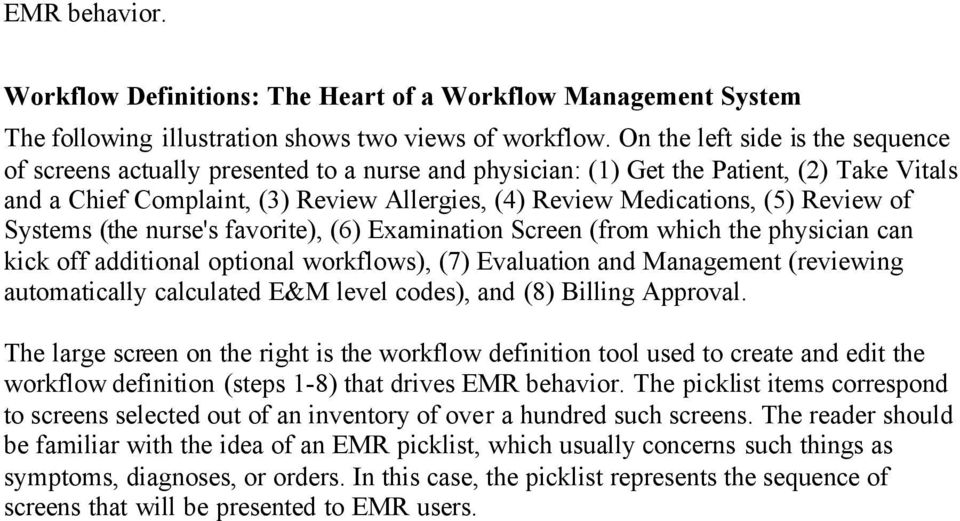 Review of Systems (the nurse's favorite), (6) Examination Screen (from which the physician can kick off additional optional workflows), (7) Evaluation and Management (reviewing automatically