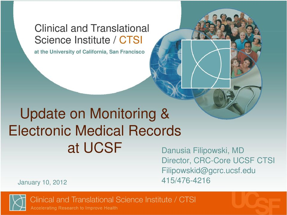 Electronic Medical Records January 10, 2012 at UCSF Danusia