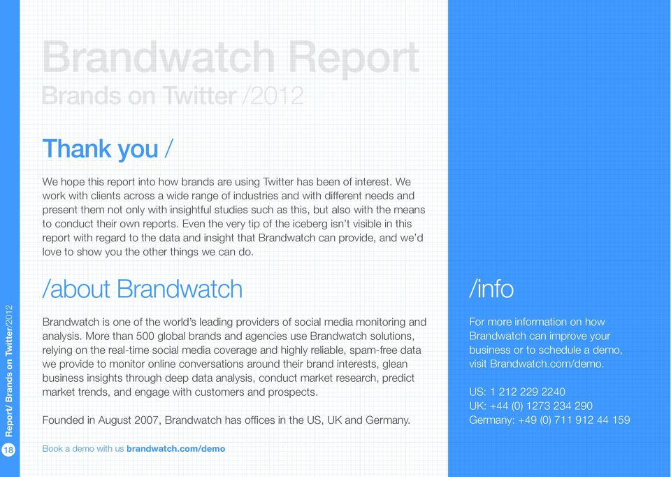 Even the very tip of the iceberg isn t visible in this report with regard to the data and insight that Brandwatch can provide, and we d love to show you the other things we can do.