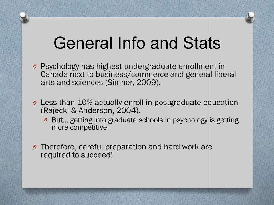 O Less than 10% actually enroll in postgraduate education (Rajecki & Anderson, 2004).