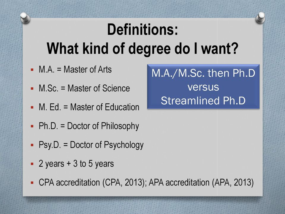 D versus Streamlined Ph.D Ph.D. = Doctor of Philosophy Psy.D. = Doctor of
