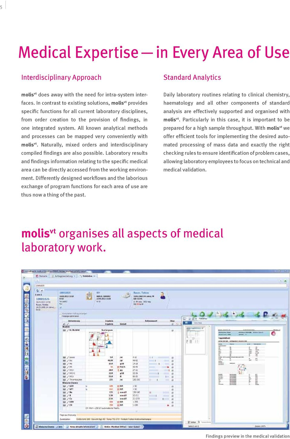 All known analytical methods and processes can be mapped very conveniently with molis vt. Naturally, mixed orders and interdisciplinary compiled findings are also possible.