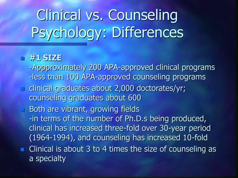 counseling programs clinical graduates about 2,000 doctorates/yr; counseling graduates about 600 Both are vibrant,
