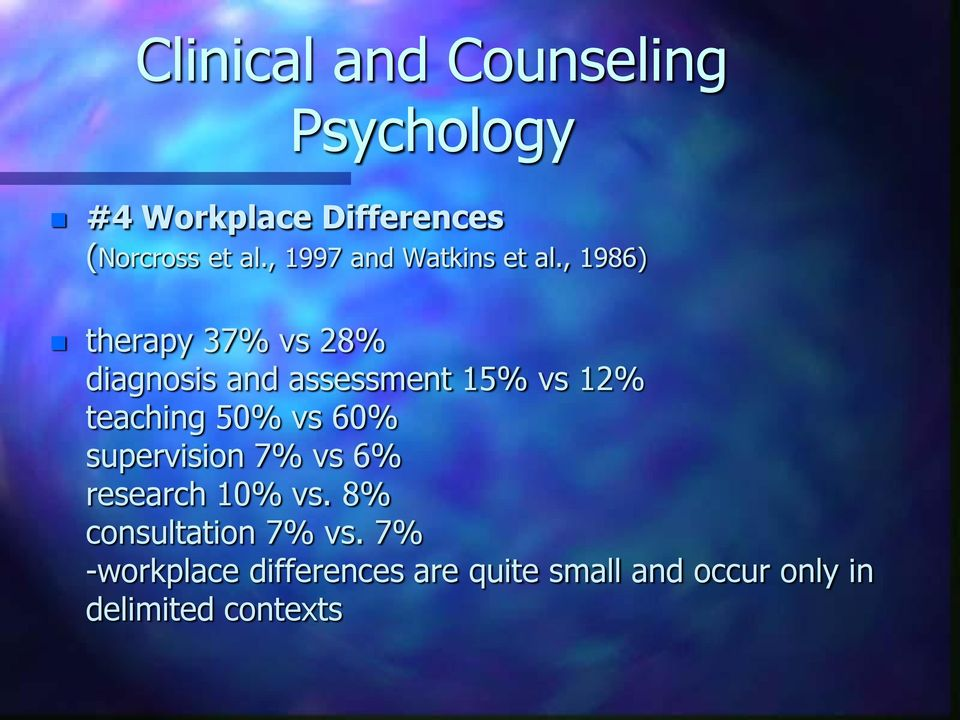 , 1986) therapy 37% vs 28% diagnosis and assessment 15% vs 12% teaching 50% vs