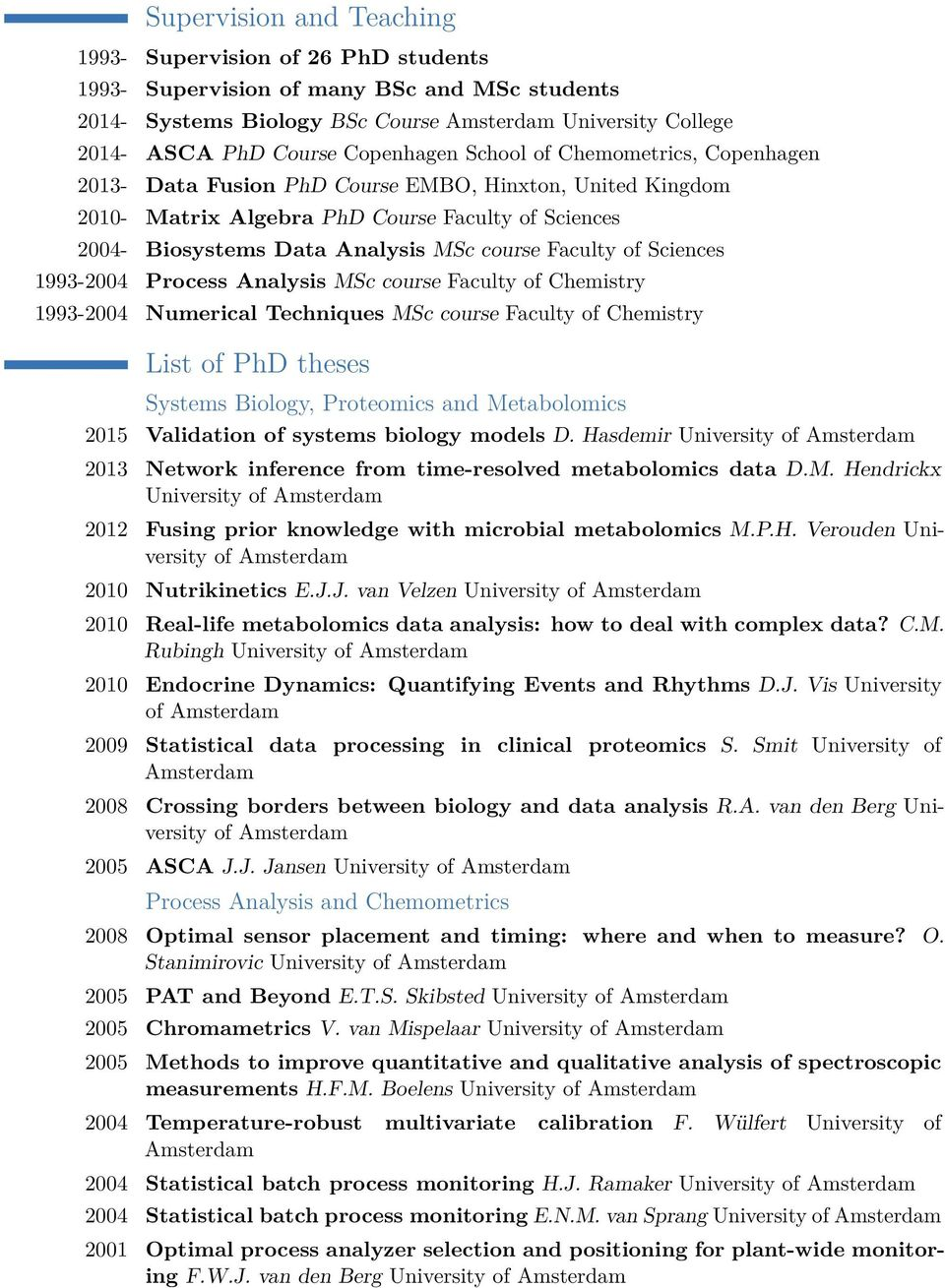 Faculty of Sciences 1993-2004 Process Analysis MSc course Faculty of Chemistry 1993-2004 Numerical Techniques MSc course Faculty of Chemistry List of PhD theses Systems Biology, Proteomics and