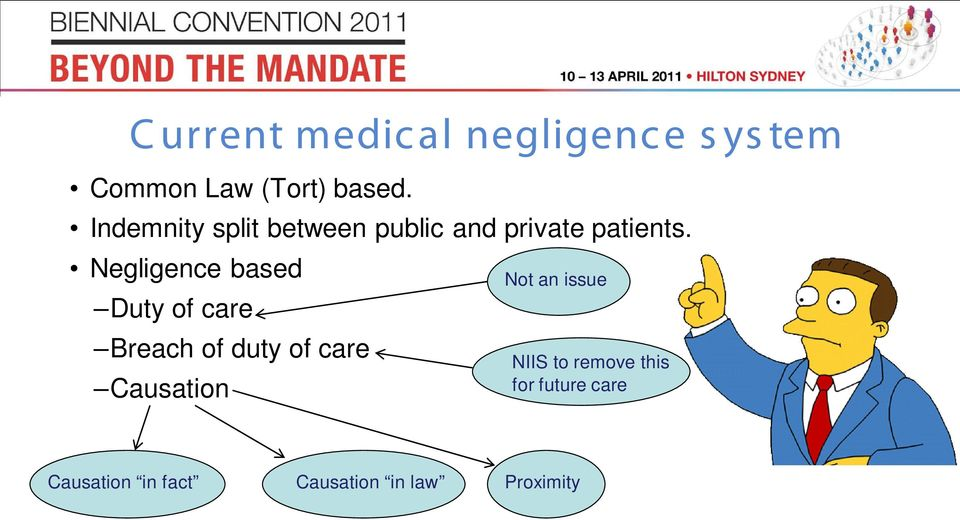 Negligence based Duty of care Breach of duty of care Causation Not