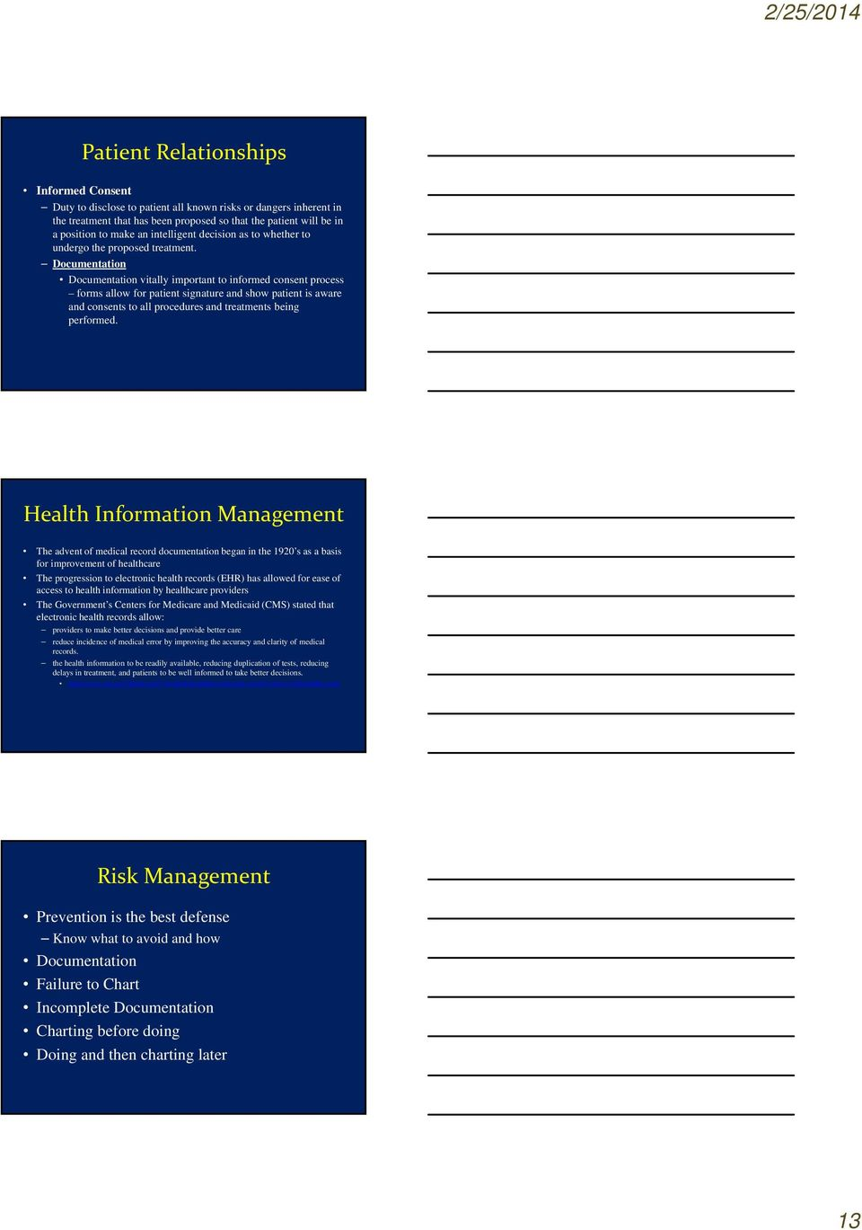 Documentation Documentation vitally important to informed consent process forms allow for patient signature and show patient is aware and consents to all procedures and treatments being performed.