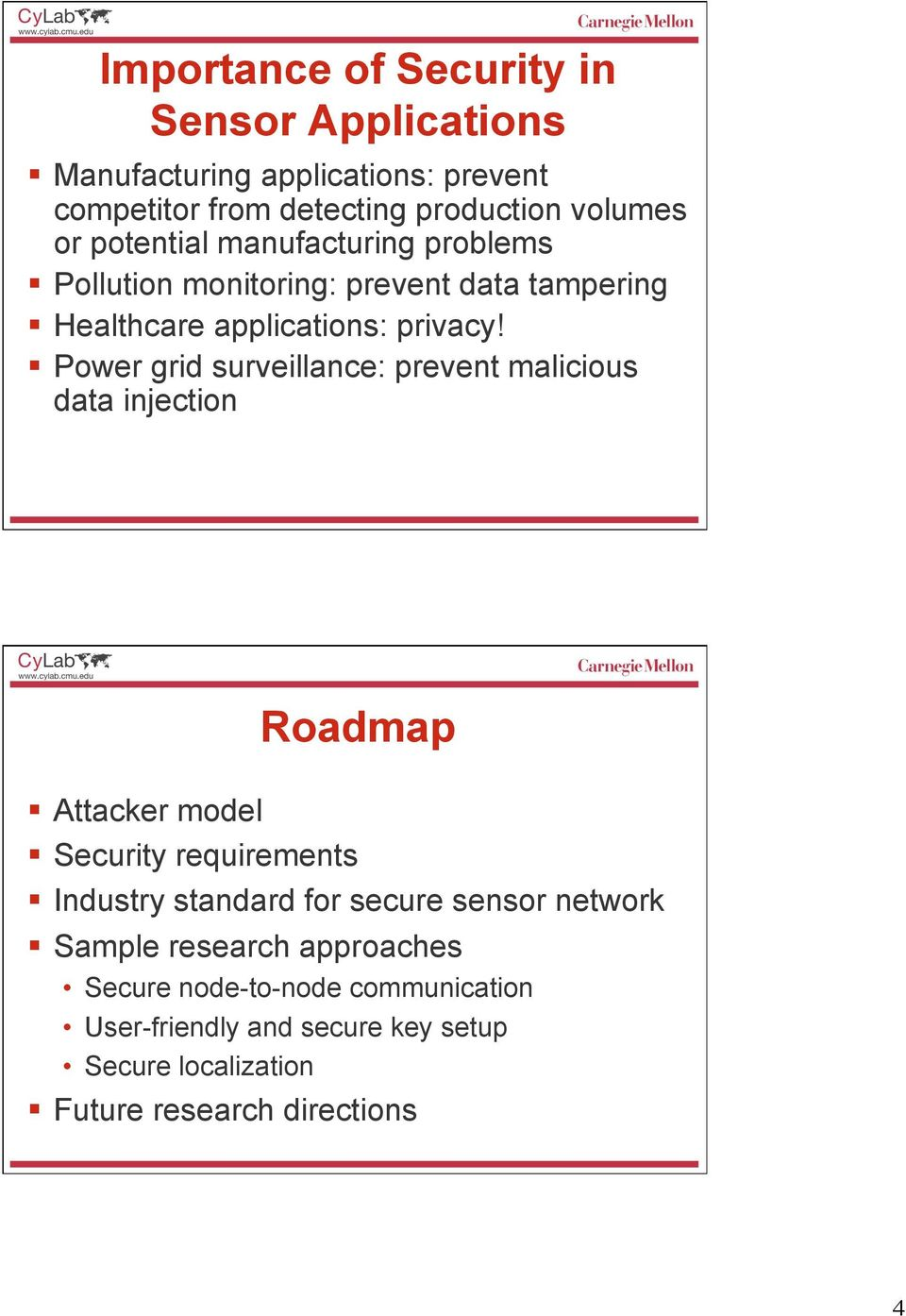 Power grid surveillance: prevent malicious data injection Roadmap Attacker model Security requirements Industry standard for secure