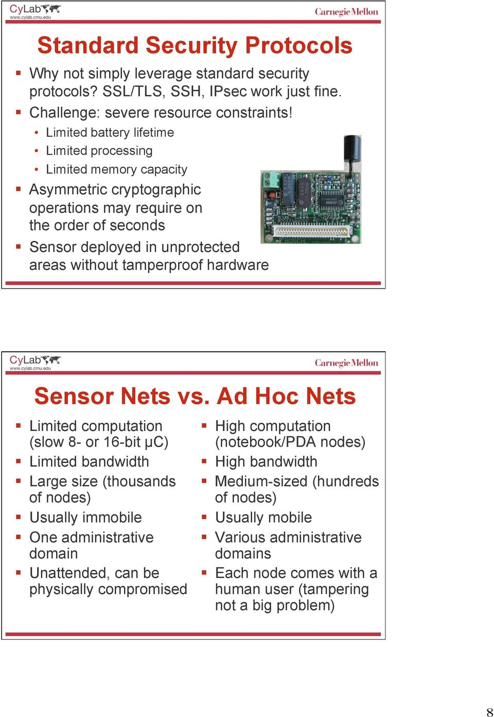 tamperproof hardware Sensor Nets vs.
