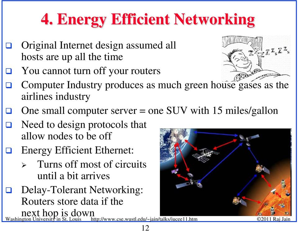 server = one SUV with 15 miles/gallon Need to design protocols that allow nodes to be off Energy Efficient
