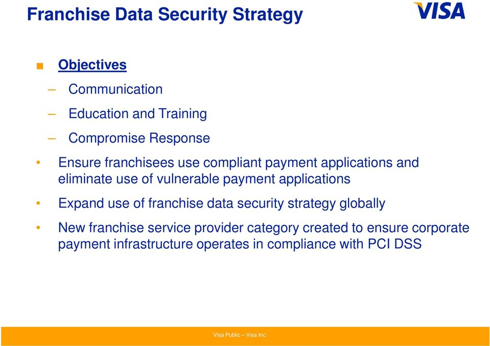 payment applications Expand use of franchise data security strategy globally New franchise