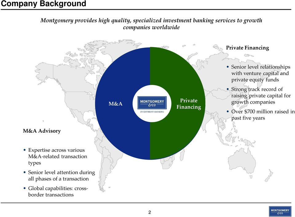 private capital for growth companies Over $700 million raised in past five years M&A Advisory Expertise across various M&A-related