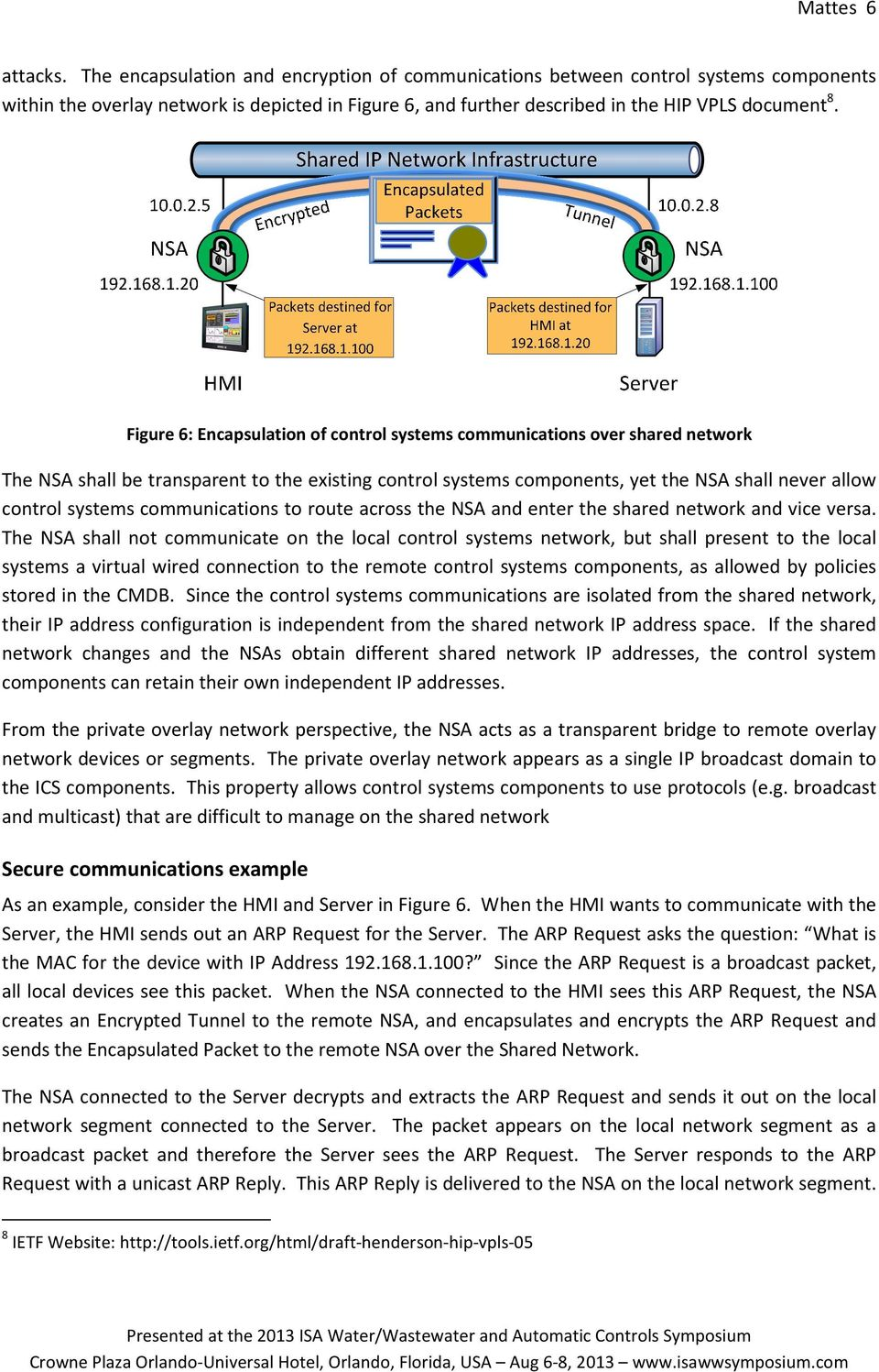 Figure 6: Encapsulation of control systems communications over shared network The NA shall be transparent to the existing control systems components, yet the NA shall never allow control systems