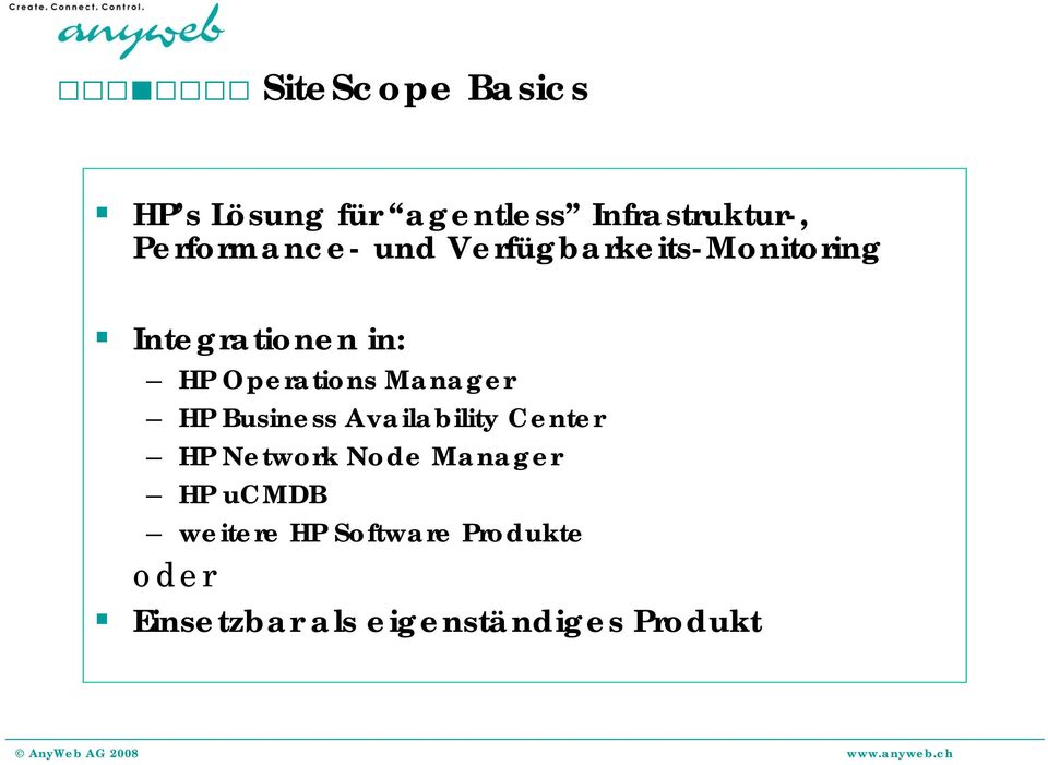 Operations Manager HP Business Availability Center HP Network Node
