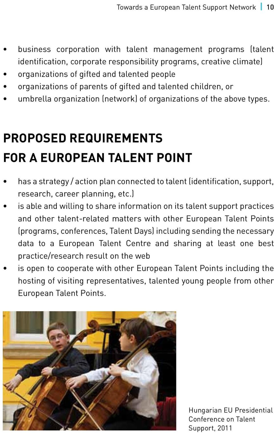 Proposed requirements for a European Talent Point has a strategy / action plan connected to talent (identification, support, research, career planning, etc.