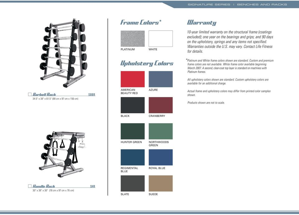 Custom and premium frame colors are not available. White frame color available beginning March 2007. A second, clear-coat top layer is standard on machines with Platinum frames.
