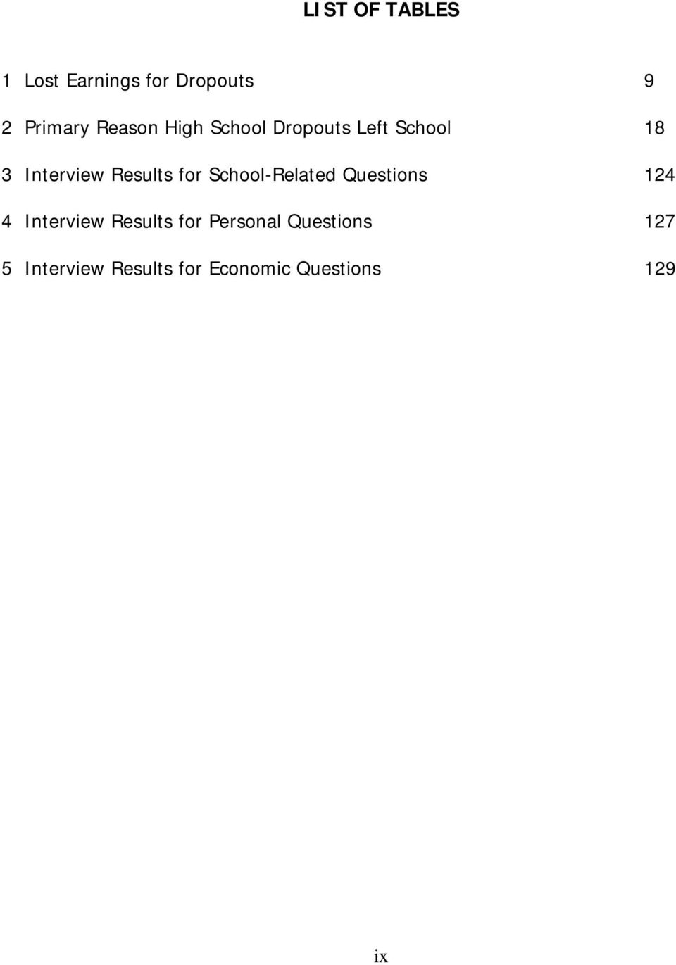 Results for School-Related Questions 124 4 Interview Results