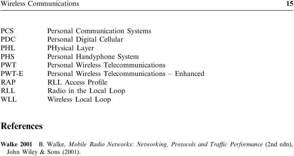 Wireless Telecommunications ± Enhanced RLL Access Pro le Radio in the Local Loop Wireless Local Loop References