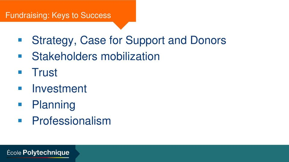 Donors Stakeholders mobilization