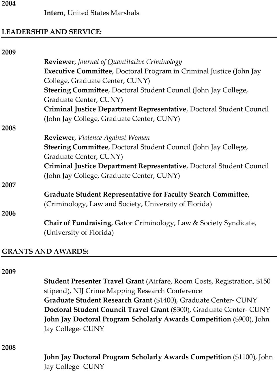 College, Graduate Center, CUNY) Reviewer, Violence Against Women Steering Committee, Doctoral Student Council (John Jay College, Graduate Center, CUNY) Criminal Justice Department Representative,