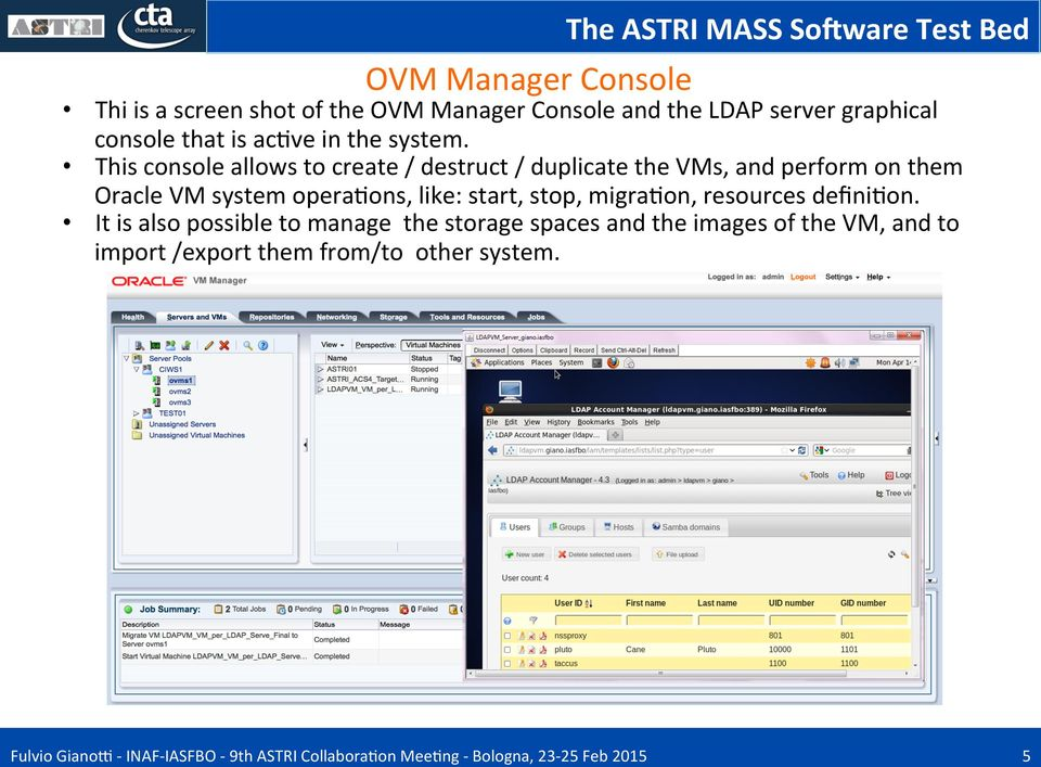 This console allows to create / destruct / duplicate the VMs, and perform on them Oracle VM system opera;ons,