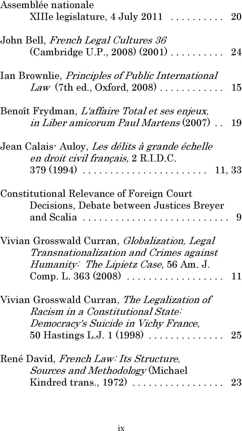 .. 11, 33 Constitutional Relevance of Foreign Court Decisions, Debate between Justices Breyer and Scalia.