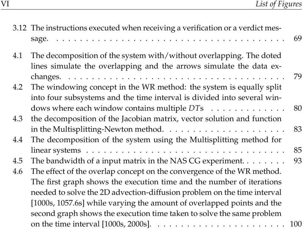 2 The windowing concept in the WR method: the system is equally split into four subsystems and the time interval is divided into several windowswhereeach windowcontainsmultiple DTs............. 80 4.