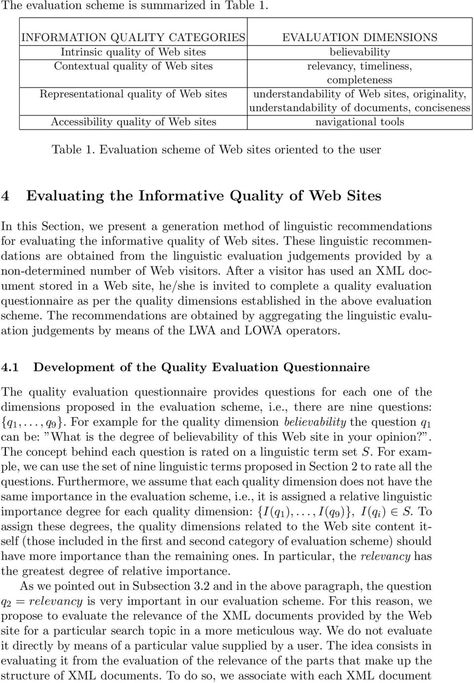 sites understandability of Web sites, originality, understandability of documents, conciseness Accessibility quality of Web sites navigational tools Table 1.