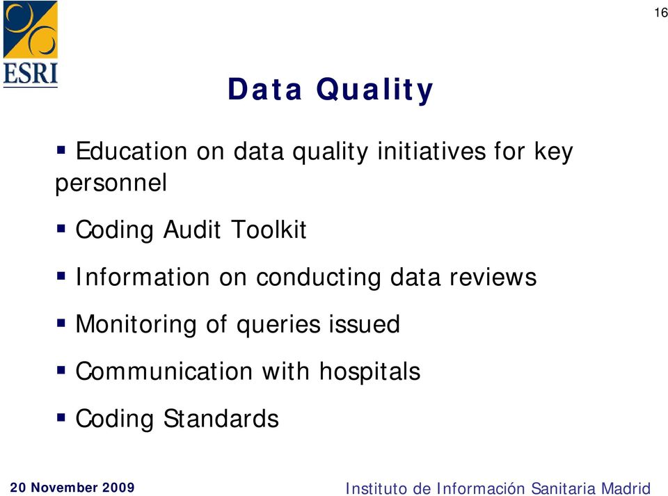 Information on conducting data reviews Monitoring