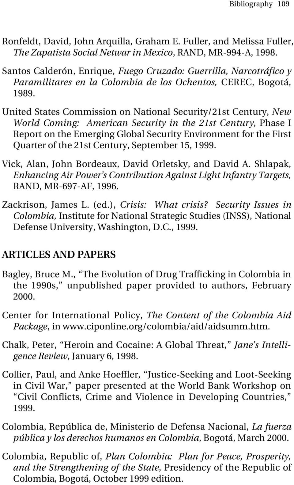 United States Commission on National Security/21st Century, New World Coming: American Security in the 21st Century, Phase I Report on the Emerging Global Security Environment for the First Quarter