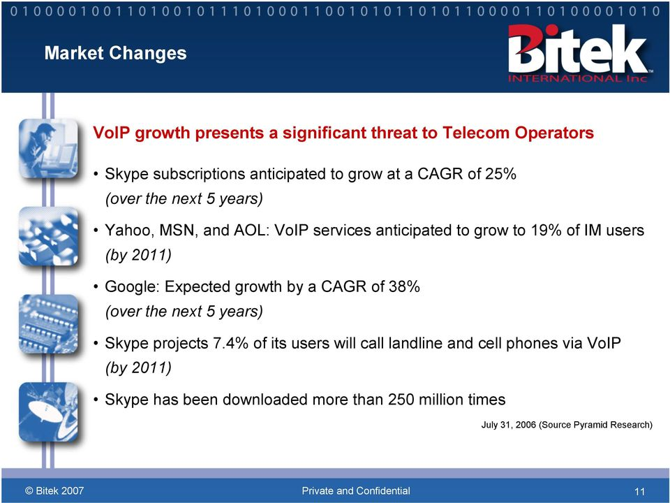 Google: Expected growth by a CAGR of 38% (over the next 5 years) Skype projects 7.