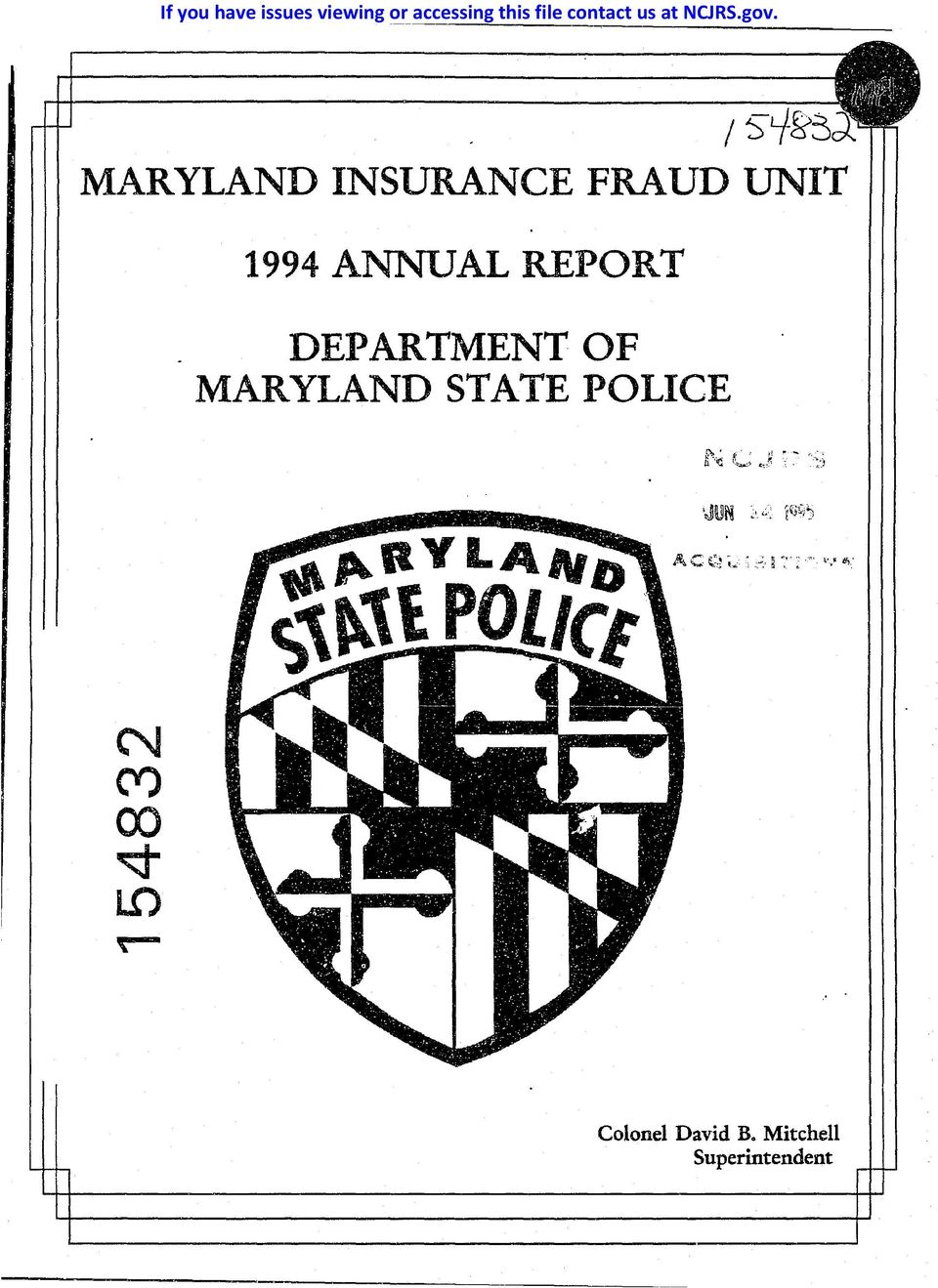 I~'-f MARYLAND INSURANCE FRAUD UNIT 1994 ANNUAL REPORT