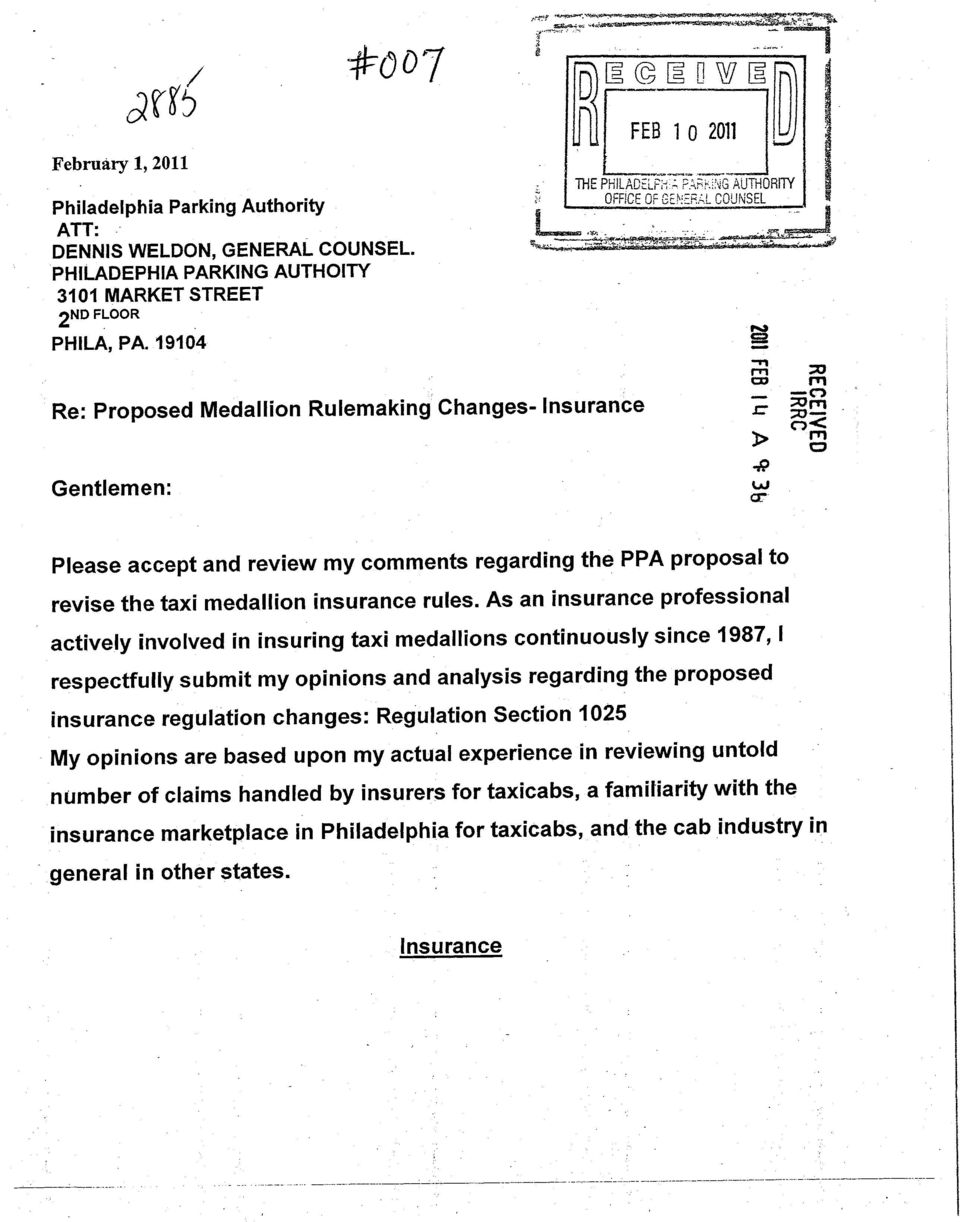 Insurance CD XT m ^3 Gentlemen: cr Please accept and review my comments regarding the PPA proposal to revise the taxi medallion insurance rules.