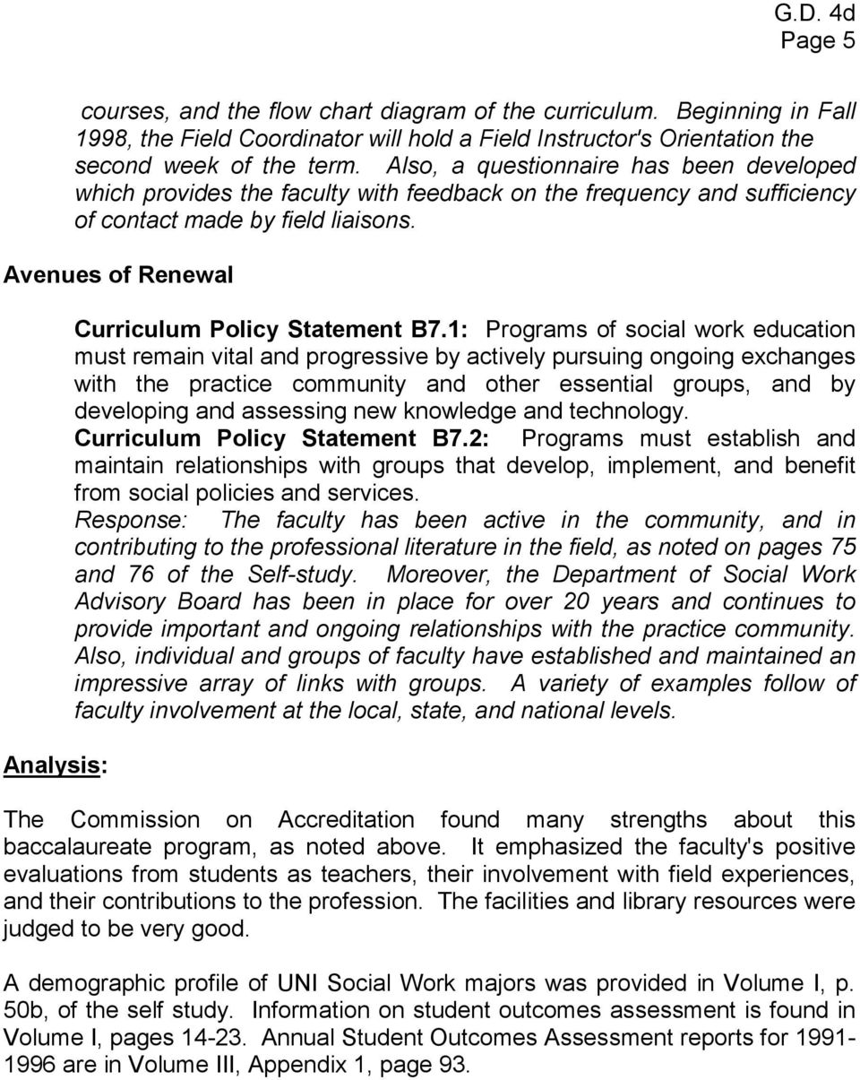 Avenues of Renewal Analysis: Curriculum Policy Statement B7.
